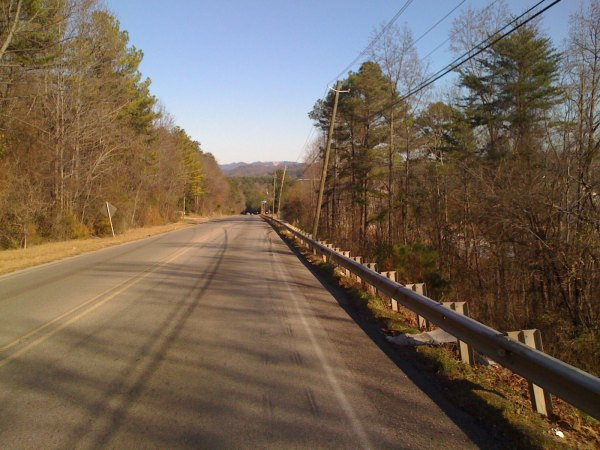 View of the pointy mountains north of Trussville - Pine Mountain and Spring Mountain are back behind these front hills.