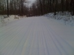 Deep snow - Spider Lake eventually turned into Telemark Rd which was really rural. The snow was loose and deep because the road climbed up well over 1500'