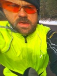 Self portrait - no ice stache - I've done three rides up here now, but the temperature has been too warm for a really good ice stache. The temps are supposed to plummet this weekend so maybe I'll get one before the end of the trip. Iphone 3G with only one camera lens are really difficult to get a self portrait.