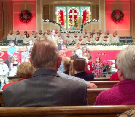 Analise and the children's choir at Lakeside Baptist Church