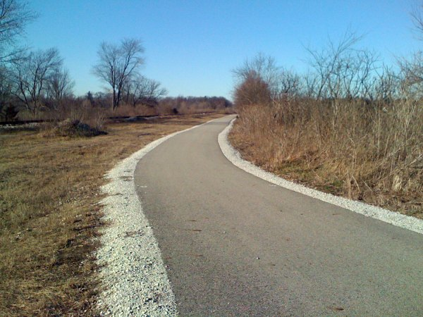 A bike path alongside the railroad tracks near North Judson, IN. This is about 20 miles south of La Porte, and note that there is no snow here at all.