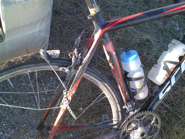 Dirty bike covered in salt and mud.
