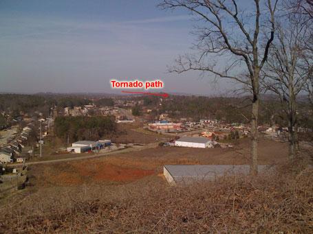 First view ... ridge blocking tornado path