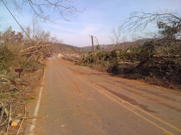 Powerlines, trees down along Old Springville Rd