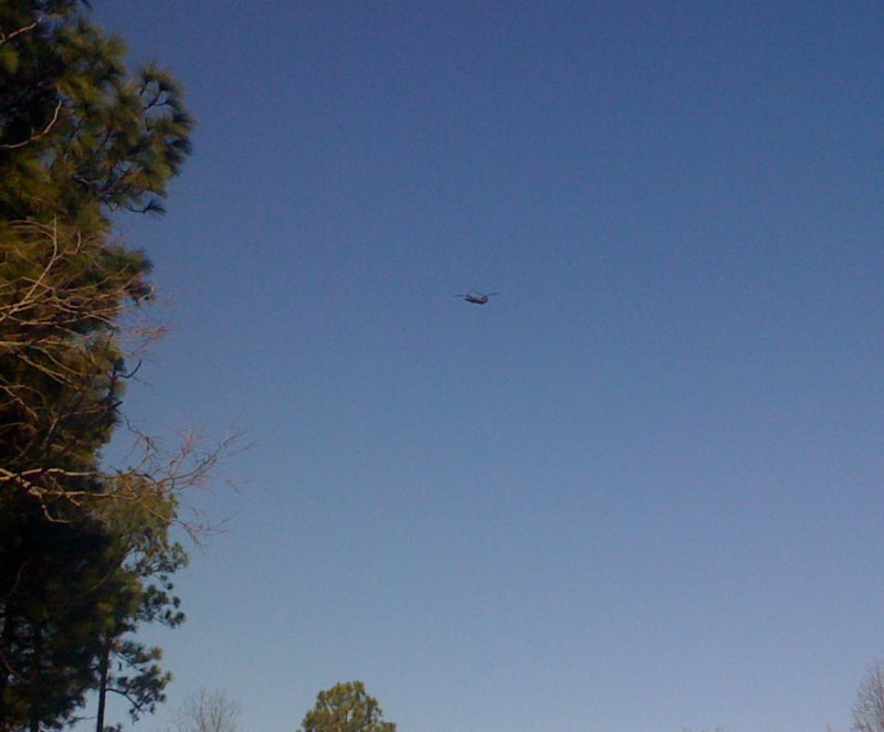 Army helicopter passing over Little Valley Mountain