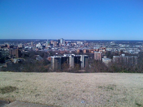 View of downtown Birmingham from the one-way knoll (opposite crest lane)