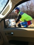 Kristine snapped this picture of me when she caught up to me about 43 miles south of La Porte. She had given me a 2 hour head start, but I was moving pretty slow with the nasty sidewind.