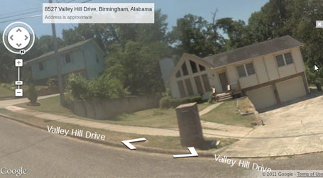 Google maps streetview image of the Valley Hill climb