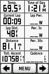 complete ride stats - distance, elevation gain, finishing temp
