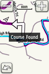 "Ironic message ""course found"", given that the lefthand arrow is pointing towards a dead end"