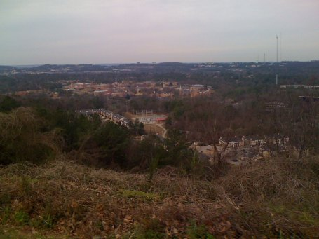 Samford University and the apartments on the Old Hwy 31 climb