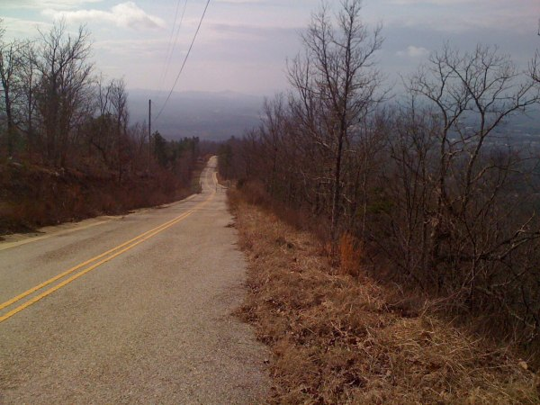view looking down from the top of the jacksonville cat 2 climb