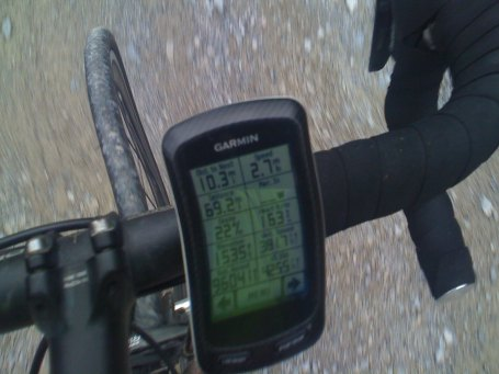 photo of my garmin in the steep gravel section of the morrow mountain climb