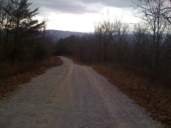 going back down the steep gravel - coldwater mountain in the far distance in the right background