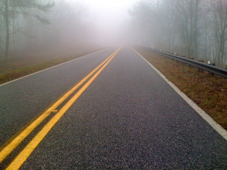 Lots of fog even on some of the lower sections of AL-281 like this one.