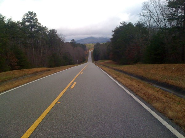Looking down to the start of the Cheaha climb from the 281 low point. Mt Cheaha is still partially obscured by clouds