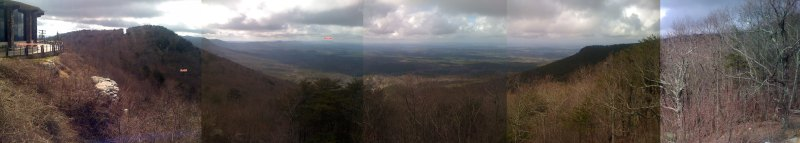 Annotated view looking southwest from the Cheaha restaurant