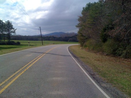 The best pic I could get heading towards one of the sleeping giants (Renfroe Mountain) - there is a gravel access road to the top, but I wasn't going to try it after already having one flat