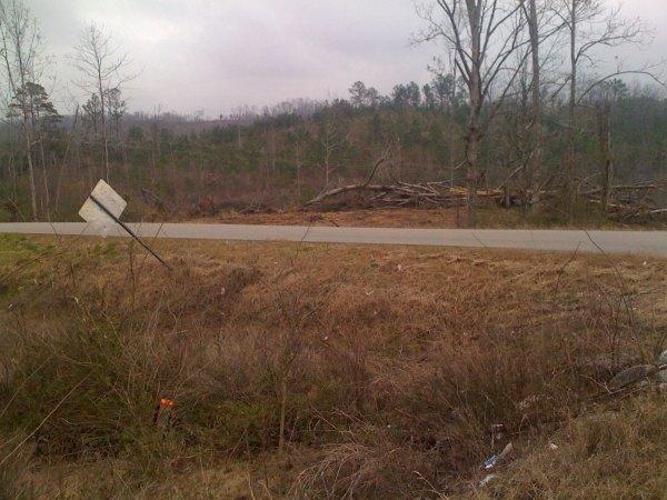Tornado damage on the edge of Lake Logan Martin