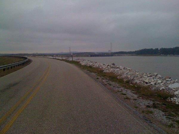 Looking along the dam road towards the dam that created Lake Logan Martin