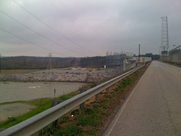 The road going across the Lake Logan Martin dam