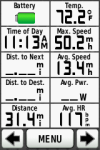 morning ride - ride stats, temp, max speed, avg speed, avg heartrate, distance