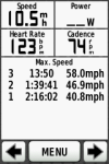 Max speeds - the 46.9mph one is coming down off of Bluff Park (see green/back elevation profile screenshot). The 58.0mph is S Cove Dr.