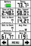 Complete ride stats - showing max speed, average speed, and average heartrate