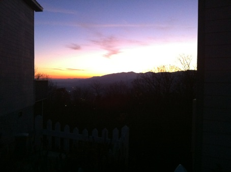 I started out by climbing up the Ober-Gatlinburg ski resort side of the valley and was rewarded with this view of the sunrise coming over the shoulder of Mt Leconte.