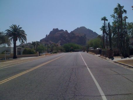 Approaching Camelback Mountain from the west - praying monk on the left
