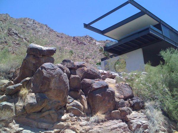 Modern desert mountain hillside house