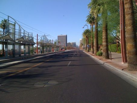 Heading into downtown Phoenix on Central Ave - streets deserted