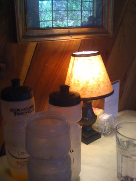 Water bottles waiting to be refilled at the Irondoor restaurant