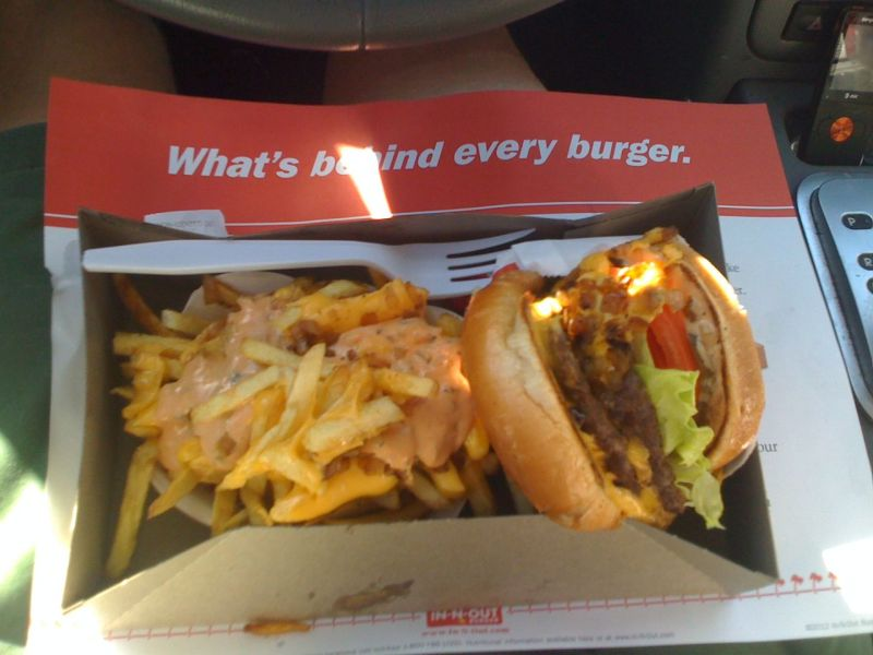 Recovery fuel for the drive back to Phoenix - In 'n Out animal style
