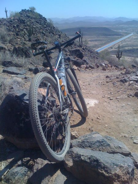 My bike, the desert, lots of mountains, and an irrigation canal with water from the Colorado River