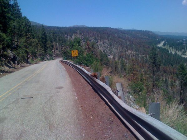 Day 17 - switchbacks at the bottom of the caldera climb overlooking Los Alamos