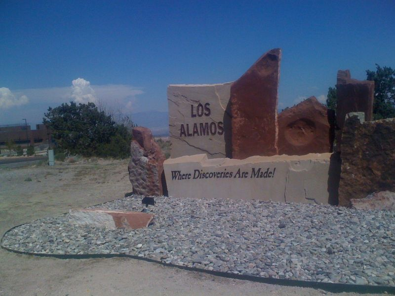 Day 17 - Los Alamos sign with Santa Fe peak in the background