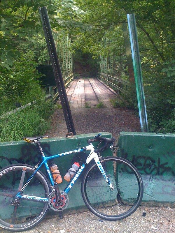 My bike at the Cahaba Beach road bridge.