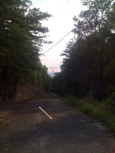 Looking back down Double Oak Way towards Oak Mountain