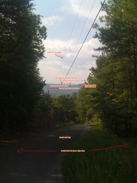 Annotated view at the precipice of the Double Oak way descent