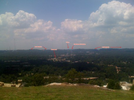 View of Red Mountain, Birmingham, Homewood from the high point on Vestavia Dr