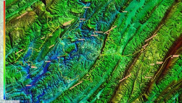 Topocreator map of the ridges southeast of Birmingham out to Double Oak (medium version)