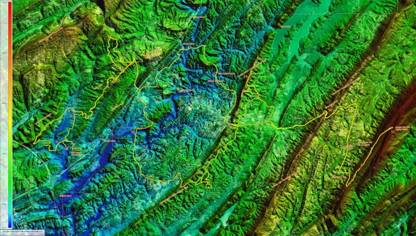Topocreator map of the ridges southeast of Birmingham out to Double Oak (hi-res version)