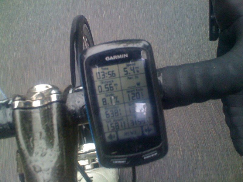 On the bike photo 3 min, 56 seconds after the Garmin crashed and I had to start a new ride. I was in panic mode wondering if I had just lost the first 9 hours of the day.