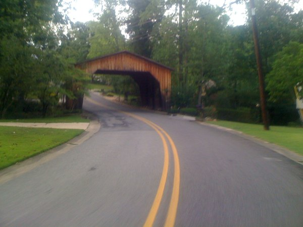 The covered road/bridge at the bottom of the Mountain Oaks divebomb descent