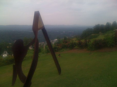 Friday ride - sculpture of a runner stretching - plus Brookwood plus Montclair hospitals