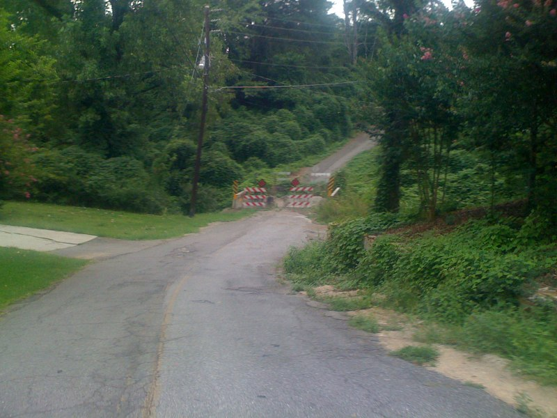 The closed road that shortcuts over to pumphouse rd behind whole foods