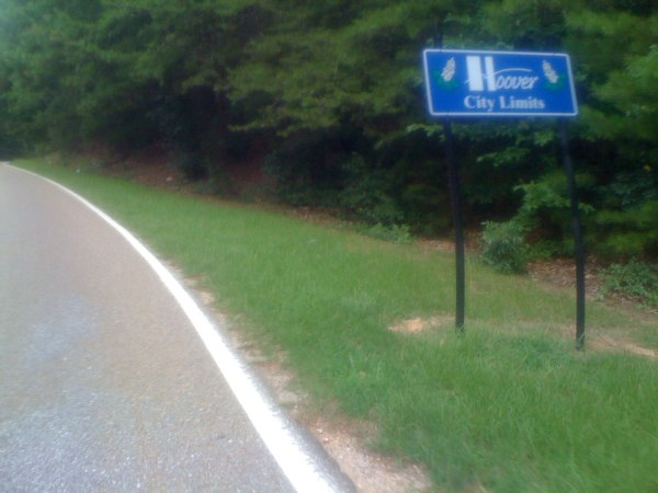 Hoover City Limits sign near the Hugh Daniel / Co Rd 41 - this is so fascinating to me b/c it is so far from my house (which is also in Hoover)