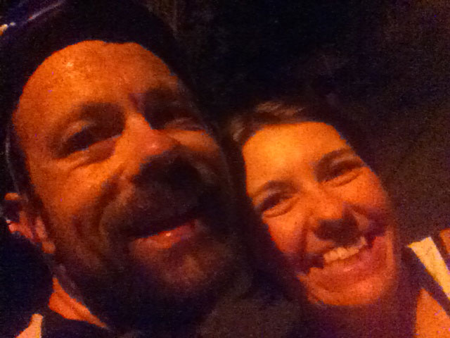 Celebrating at midnight the end of a very long day of riding with my beautiful wife
