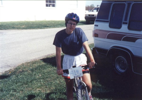 1993 - Before my first mountain bike race - the 1993 Cumberland Classic at Sewanee, TN. 6th in the juniors and 25th in the beginners (there were 100 people in the race!). The bike pictured is a rigid fork mongoose alta with reflectors still on the wheels.